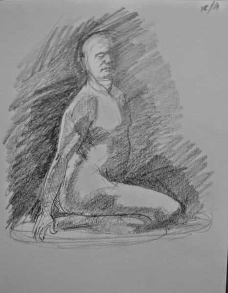 Male life model in pencil